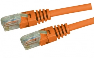 Dynamix 1M Orange Cat 5 Enhanced UTP Patch Lead (T568A Specification) 350MHz Slimline Molding & Latch Down Plug