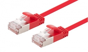 Dynamix 2M Red Cat6A S/FTP Slimline Shielded 10G Patch Lead Cable