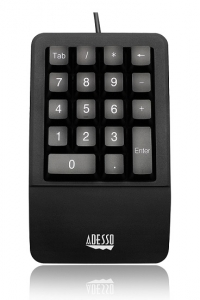 Adesso Antimicrobial Waterproof USB Wired Numeric Keypad with Wrist Rest Support
