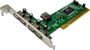 4 Port PCI USB 2.0 Add On Card (4 External + 1 Internal Port)