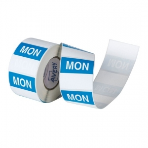Avery 40mm Monday Square Label Blue/White - 500 Labels