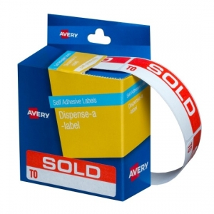 Avery 64 x 19 mm Sold To Dispenser Label Red & White - 125 Labels