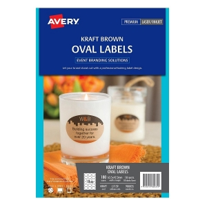 Avery Brown Kraft L7139 60mm Oval Labels - 180 Pack
