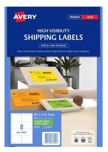 Avery L7165FG Fluoro Green Laser 99.1 x 67.7mm Permanent Visibility Shipping Labels - 200 Pack