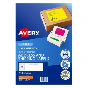 Avery L7162FO Fluoro Orange Laser 99.1 x 34 mm High Visibility Shipping Label - 25 Sheets