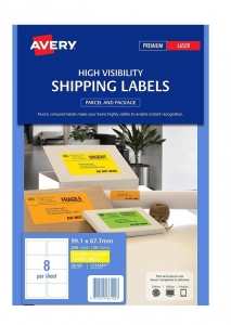 Avery L7165FY Fluoro Yellow Laser 99.1 x 67.7mm Permanent Visibility Shipping Labels - 200 Pack