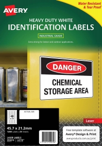 Avery L4778 White Laser 45.7 x 21.2mm Extra Strong Permanent Heavy Duty Labels – 1200 Pack