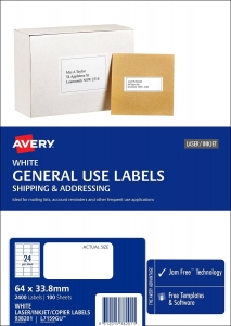 Avery L7159GU White Laser Inkjet 64 x 33.8mm Permanent General Use Labels – 2400 Pack