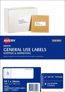 Avery L7162GU White Laser Inkjet 99.1 x 34mm Permanent General Use Labels – 1600 Pack