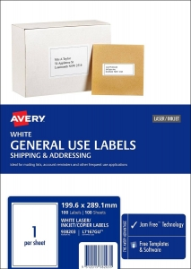 Avery L7167GU White Laser Inkjet 199.6 x 289.1mm Permanent General Use Labels – 100 Pack