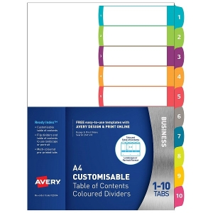 Avery L7411-10 Multi-Coloured A4 Laser Inkjet Customisable Dividers - 10 Tabs