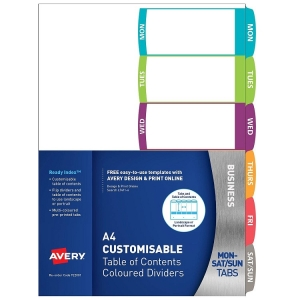 Avery L7411-6 Multi-Coloured A4 Laser Inkjet Customisable Days Dividers - 6 Tabs