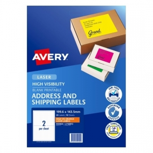 Avery L7168FO Orange Laser 199.6 x 143.5 mm High Visibility Shipping Label - 10 Sheets