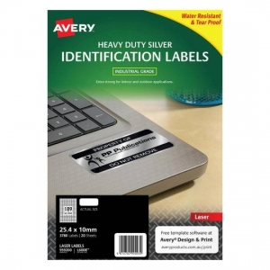 Avery L6008 Polyester Silver Laser 25.4 x 10mm Extra Strong Permanent Heavy Duty Labels - 3780 Pack