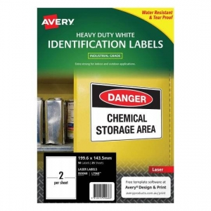 Avery L7068 Polyester White Laser 199.6 x 143.5mm Extra Strong Permanent Heavy Duty Labels - 50 Pack