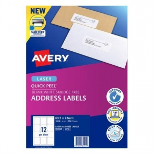Avery L7164 White Laser 63.5 x 72mm Permanent Quick Peel Address Labels with Sure Feed - 1200 Pack