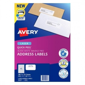 Avery L7651 White Laser 38.1 x 21.2mm Permanent Quick Peel Address Labels with Sure Feed - 6500 Pack