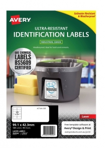 Avery L7913 White Laser 99.1 x 42.3mm Extra Strong Permanent Ultra-Resistant Chemical Grade Labels – 120 Pack