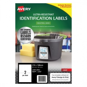 Avery L7916 White Laser 210 x 148mm Extra Strong Permanent Ultra-Resistant Chemical Grade Labels – 20 Pack