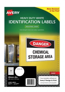 Avery L6112HD White Laser 40mm Round Extra Strong Permanent Heavy Duty Labels – 240 Pack