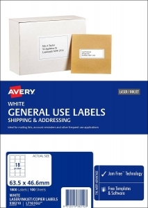 Avery L7161GU White Laser Inkjet 63.5 x 46.6mm Permanent General Use Labels – 1800 Pack