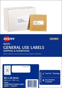 Avery L7157GU White Laser Inkjet 64 x 24.3mm Permanent General Use Labels – 3300 Pack