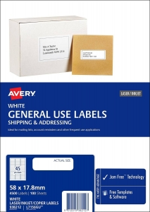 Avery L7156GU White Laser Inkjet 58 x 17.8mm Permanent General Use Labels – 4500 Pack