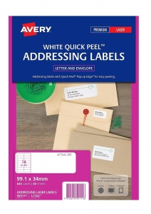 Avery L7162 White Laser 99.1 x 34mm Permanent Quick Peel Address Labels with Sure Feed – 640 Pack