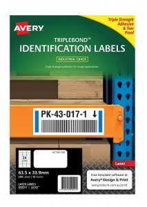 Avery L6141 White Laser 63.5 x 33.9mm Triple Strong Permanent Triple Bond Labels – 240 Pack
