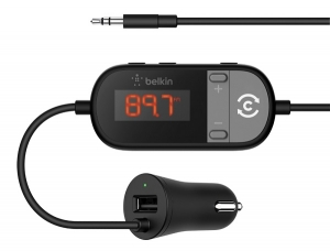 Belkin TuneCast In-Car 3.5mm to FM Transmitter with USB Car Charger