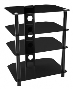 Brateck Economy Glass and Metal 4 Layer Hi-Fi Stand Unit for TVs or Monitors - Up to 40kg (Flat Pack)