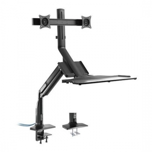 Brateck DWS21-C02 Gas Spring Floating Sit-Stand Desk Converter for 17 - 27 Inch Monitors