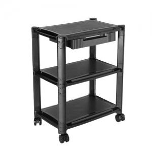 Brateck Height Adjustable Smart Cart for 13-32 Inch TVs or Monitors with Three Shelves and Drawer