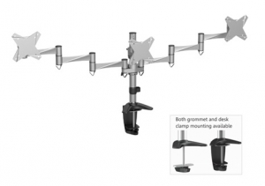 Brateck Elegant Aluminum Triple Desk Mount Bracket for 13-21.5 Inch Flat Panel TVs or Monitors - Up to 8kg per arm