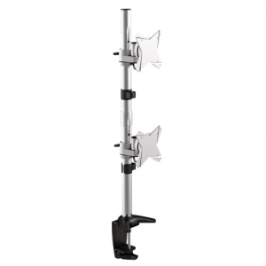 Brateck Elegant Aluminum Vertical Dual Desk Mount Bracket for 13-27 Inch Flat Panel TVs or Monitors - Up to 8kg per arm