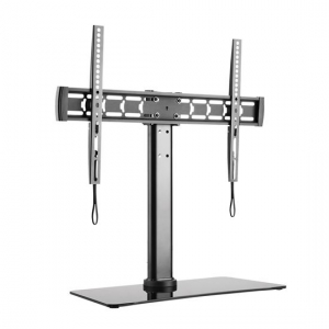 Brateck Tempered Glass Free Standing Single Monitor Desk Stand for 33-55 Inch Flat Panel TVs or Monitors - Up to 40kg