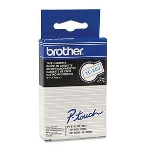 Brother 12MM TC203 Blue on White P-Touch Tape