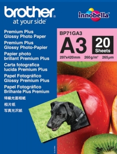 Brother BP71GA3 Glossy Premium A3 260gsm Photo Paper - 20 Sheets