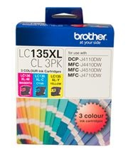 Brother LC135XL Colour High Yield Ink Cartridge Value Pack - Cyan, Magenta & Yellow