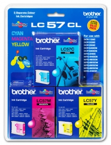 Brother LC57CL3PK Ink Cartridge 3 Colour Pack