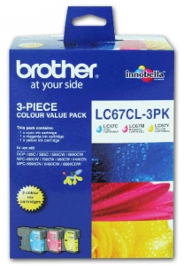 Brother LC67 Ink Cartridge 3 Colour Value Pack - Cyan, Magenta & Yellow