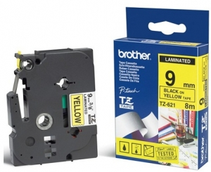 Brother P-Touch TZE-621 9mm Black on Yellow Laminated Label Tape