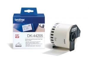 Brother DK44205 62mm x 30m Black on White Continuous Removable Paper Label Roll Tape