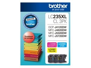 Brother LC235XLCL3PK 3x High Yield Colour Ink Cartridges