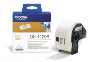 Brother P-Touch DK11208 38 x 90mm Large White Address Labels