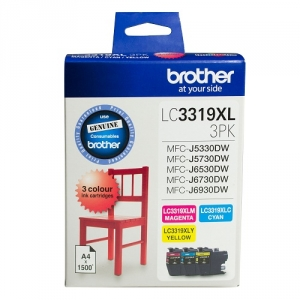 Brother LC3319XL Colour High Yield Ink Cartridge Value Pack - Cyan, Magenta & Yellow