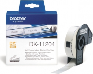 Brother DK11204 17mm X 54mm Black on White Multi Purpose Labels