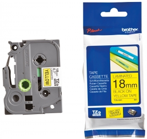 Brother P-touch TZE641 18mm Black on Yellow Label Tape