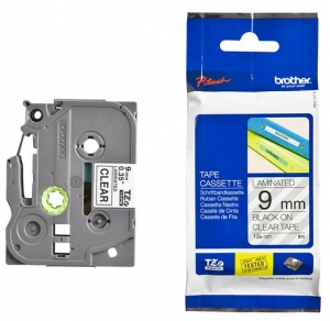 Brother P-Touch TZE-121 9mm Black on Clear Laminated Label Tape