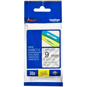 Brother P-Touch TZE121 9mm Black on Clear Label Tape